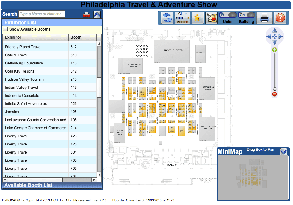 Philadelphia Travel Show Floor Plan